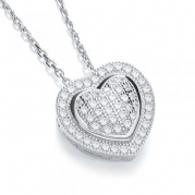 "J-Jaz Micro Pave' Heart Pendant with 18"" Chain"